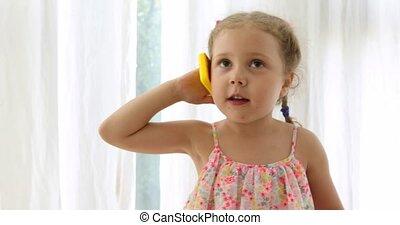 telefoon, meisje, speelbal, emotioneel, klesten