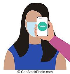 telefoon, mensen, gezondheid, scanderen, afstand, temperatuur