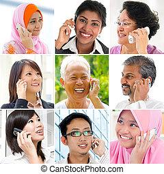 telefoon., mensen pratend