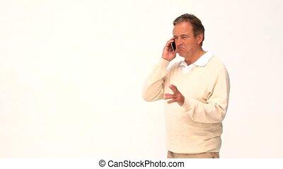 telefoon, ongedwongen, man, bejaarden, het spreken