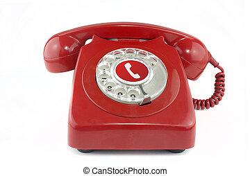 telefoon, oud, 1970's, rood