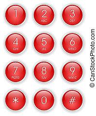 telefoon, rood, toetsenbord