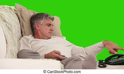 telefoon, zijn, hebben, sofa, roepen, man, gepensioneerd