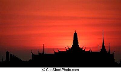tempel, silhouette, ondergaande zon , back, hemel, het opkomen van de maan, wolk, boeddhist, rood