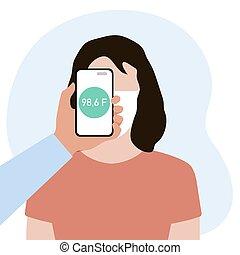 temperatuur, gezondheid, mensen, scanderen, telefoon, afstand