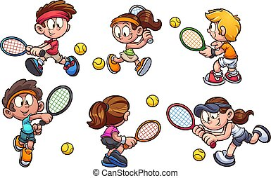 tennis, spelend, geitjes