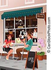 terras, drinkende koffie, paar