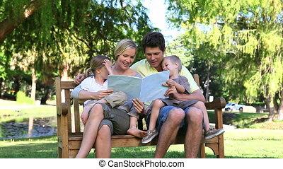 terwijl, het boek van de lezing, gezin, zittende