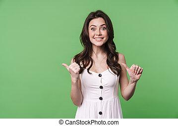 terzijde, blij, beeld, vrouw, brunette, vingers, het glimlachen, wijzende