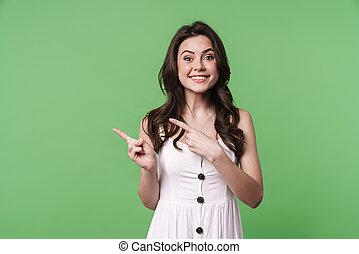 terzijde, blij, beeld, vrouw, vingers, het glimlachen, kaukasisch, wijzende