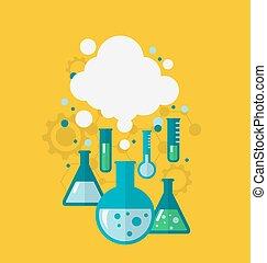 tests, wezen, het tonen, chemisch, experiment, gevarieerd, mal, cond
