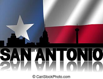 texan, san, tekst, weerspiegelde, illustratie, antonio, vlag, rippled, skyline