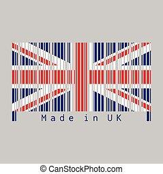 text:, unie, uk, vlag, streepjescode, uk., set, dommekracht, kleur, gemaakt