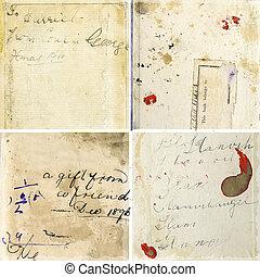 texturen, grunge, ouderwetse , verzameling, papier, handschrift