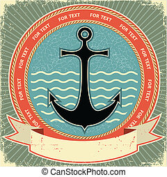 textuur, etiket, papier, oud, anchor., ouderwetse , nautisch