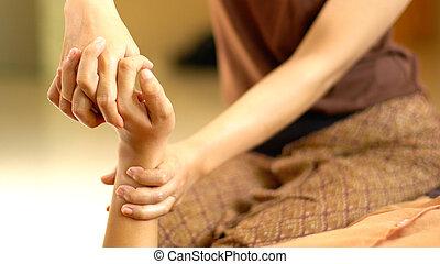 thai, masseren, hand