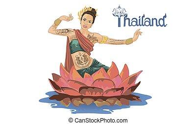 thailand, nationale, vrouw, dansen, kostuum