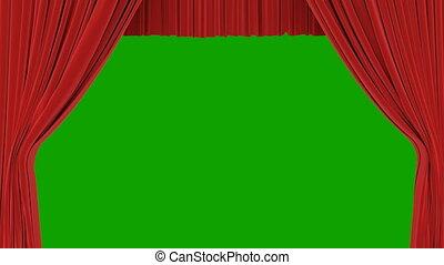 theatraal, opening, gordijnen, abstract, classieke, screen., channel., rood, theater, animatie, groene, 4k, 3d, alfa, sluiting, ultra, opstand, hd, toneel