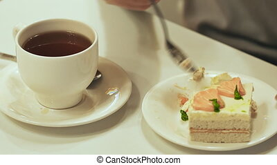 thee, eet, taart, tafel, witte , meisje, dranken