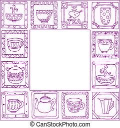 thee, frame, potten, hand, ontwerp, getrokken, koppen