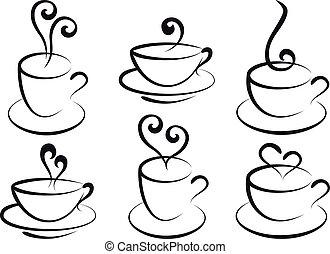 thee koffie, vector, koppen