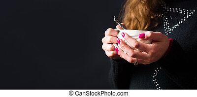 thee, vasthouden, vrouwlijk, kop