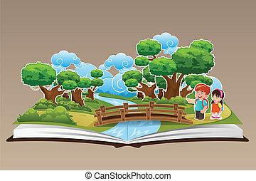 thema, boek, op, knallen, bos