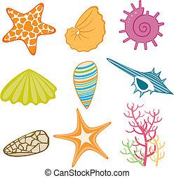 thema, oceaan, pictogram
