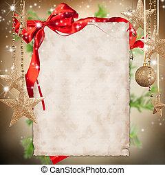 thema, tekst, papier, kerstmis, leeg, viering