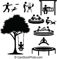 thuis, achterplaats, activiteit, pictogram