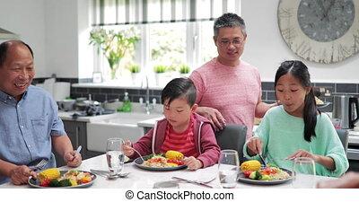 thuis, bakken, het genieten van, mengen, gezin