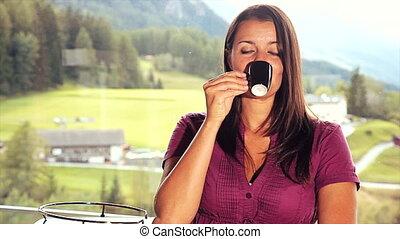 thuis, boeiend, vrouw, koffie