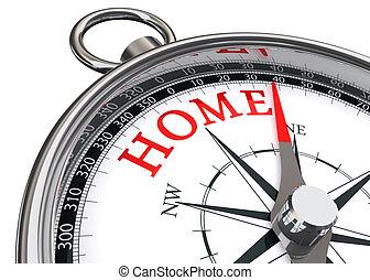 thuis, concept, kompas