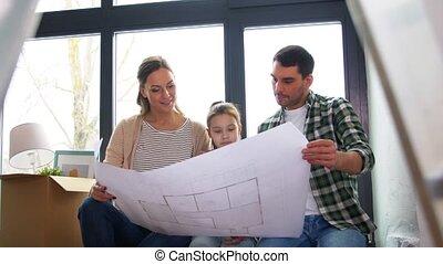 thuis, gezin, nieuw, verhuizing, vrolijke , bouwschets