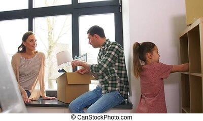 thuis, gezin, vrolijke , nieuw, kind, verhuizing