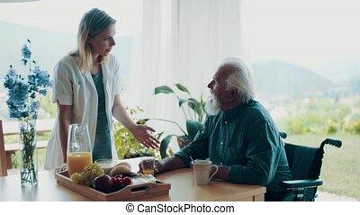 thuis, gezondheid, visit., senior, bezoeker, man, gedurende