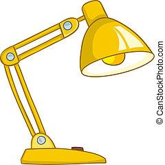 thuis, lamp, spotprent