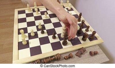 thuis, mensen, schaakspel, spelend