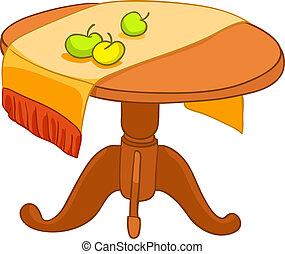 thuis, meubel, spotprent, tafel