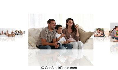 thuis, montage, kinderen, hebben, hun, ouders, plezier