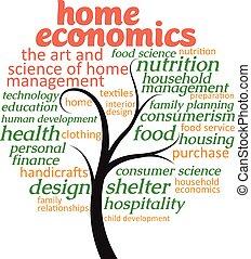 thuis, over, economie, boompje