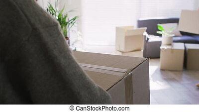 thuis, paar, karton, lesbische , woonkamer, kaukasisch, nieuw, verhuisdozen