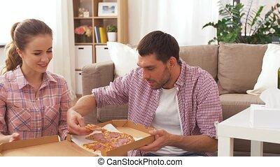 thuis, paar, pizza, eten, takeaway