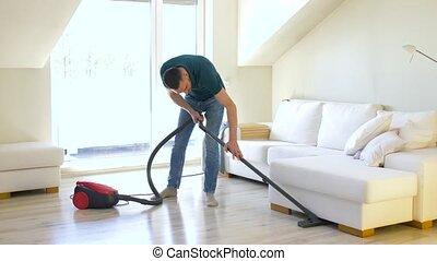 thuis, reinigingsmachine, man, vacuüm