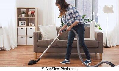 thuis, reinigingsmachine, vrouw, aziaat, vacuüm