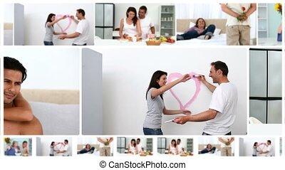 thuis, romantische, montage, stellen