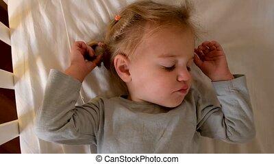 thuis, slapende, kinderbed, toddler