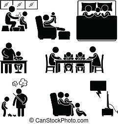 thuis, symbool, activiteit, gezin, woning