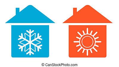thuis, warme, set, koude, pictogram