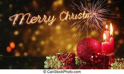 tien, leest, seconden, groet, vrolijk, jaar, nieuw, kerstmis, lus